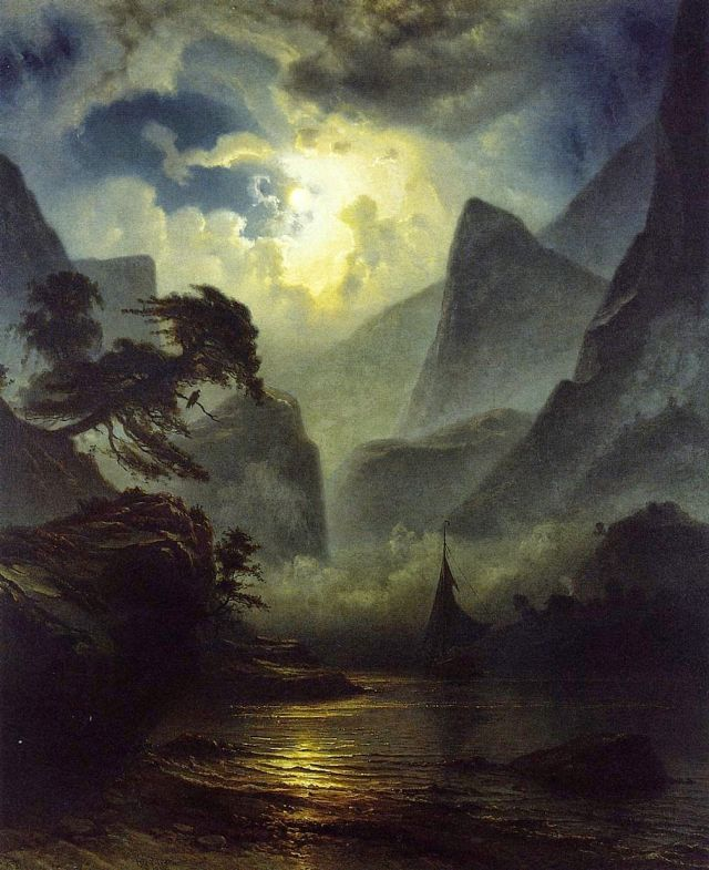 A Norwegian Fjord by Moonlight (1855) – Baade, Knud Andreassen (1808-1879)
