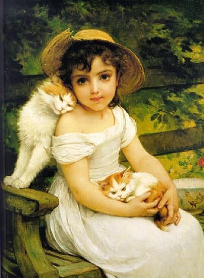Émile Munier - Child and her Cats