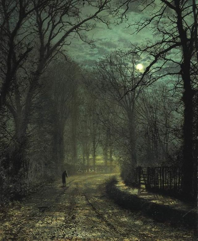 """A Yorkshire Lane in November 1873,"" by John Atkinson Grimshaw"