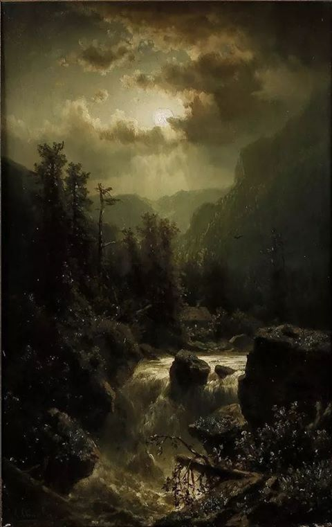 "Adolf Chwala (Czech, 1836-1900), ""Moonlit night in the Carinthian Alps"""