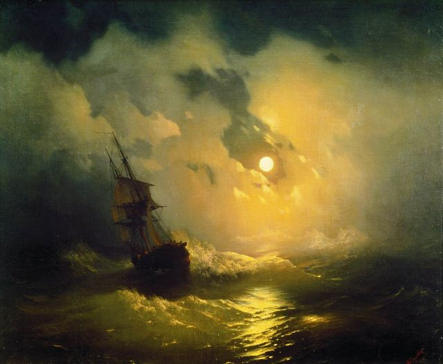 Stormy sea at night - Ivan Aivazovsky 1848