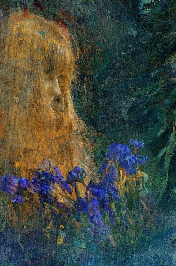 Edgar Maxence, Portrait of a Girl with Iris Flowers