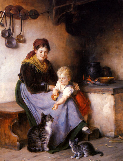Rudolf Epp - Mother And Child Feeding Cats